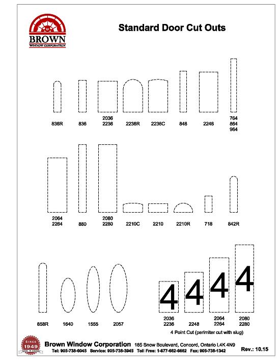 standard door cut outs pdf download  sc 1 st  Brown Window & Standard Door Cutouts PDF from Brown Window Corporation