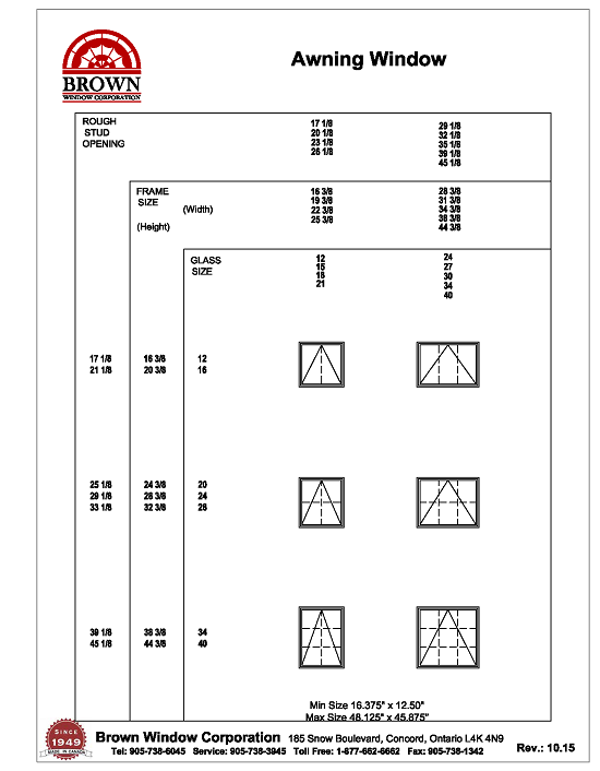 Awning Windows Sizes : Awning window size chart from brown corporation