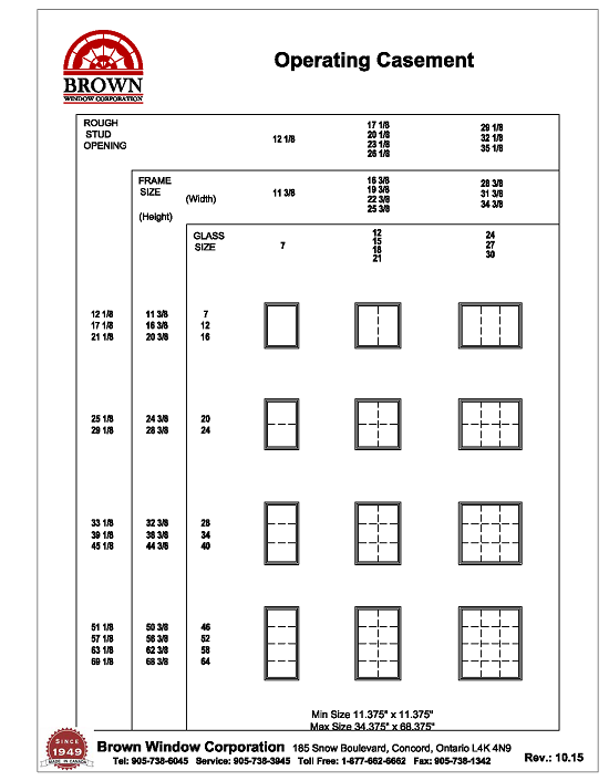 Casement Window Size Chart : Fixed casement window size chart from brown corporation