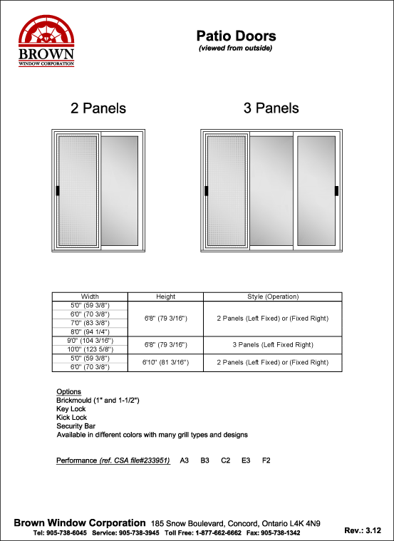Entrance Door Window Size Chart (2) from Brown Window Corporation